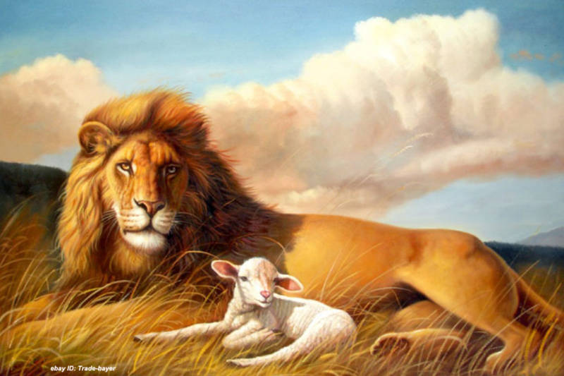 """Modern Abstract Art Oil Painting """"Lion with lamb"""" on"""