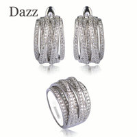 Luxury Wedding Jewelry Sets Wide Ring Stud Earrings For Women Gold Silver Color Zircon Copper Gioielli