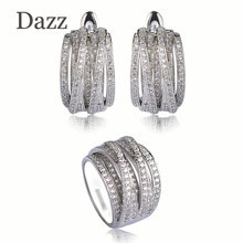 Dazz Wedding Jewelry Sets Big Wide Ring Stud Earrings For Women Gold Silver Color Zircon Copper