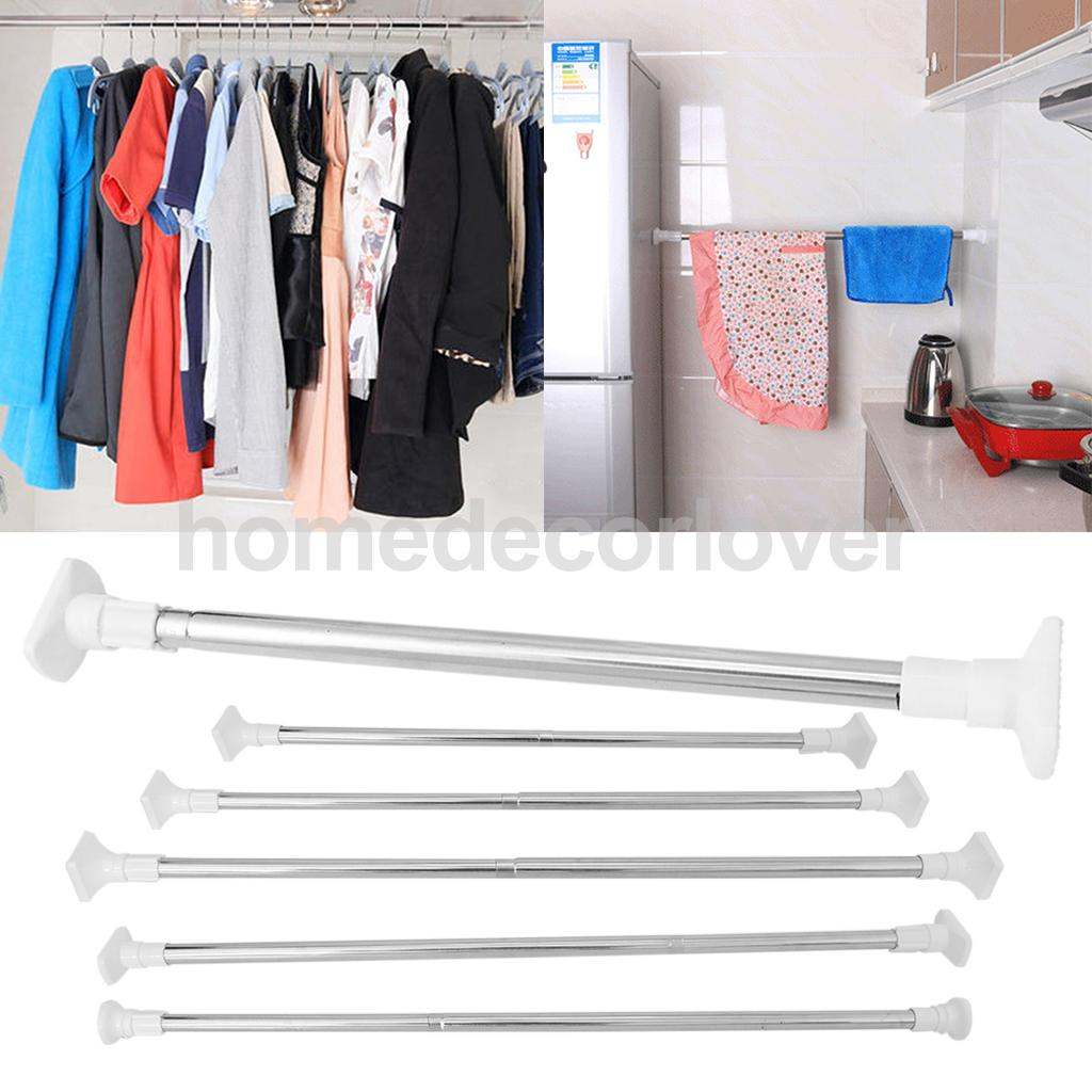 Quick-Fit Telescopic Tension Rod Shower Curtain Pole Bedroom Closet Organizer, No Need D ...