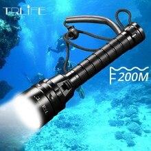 IP68 en yüksek dalış el feneri Torch 5 * T6 L2 dalış meşale 200M sualtı su geçirmez taktik profesyonel dalış fener lambası