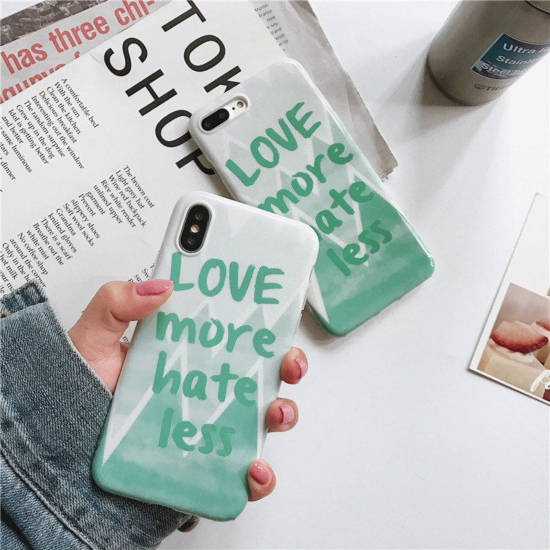 Summer fresh Simple style Phone Cases For iphone 6 6s 7 8 plus Back Cover For iphone X Case Fashion Glossy Letter Soft Case Capa