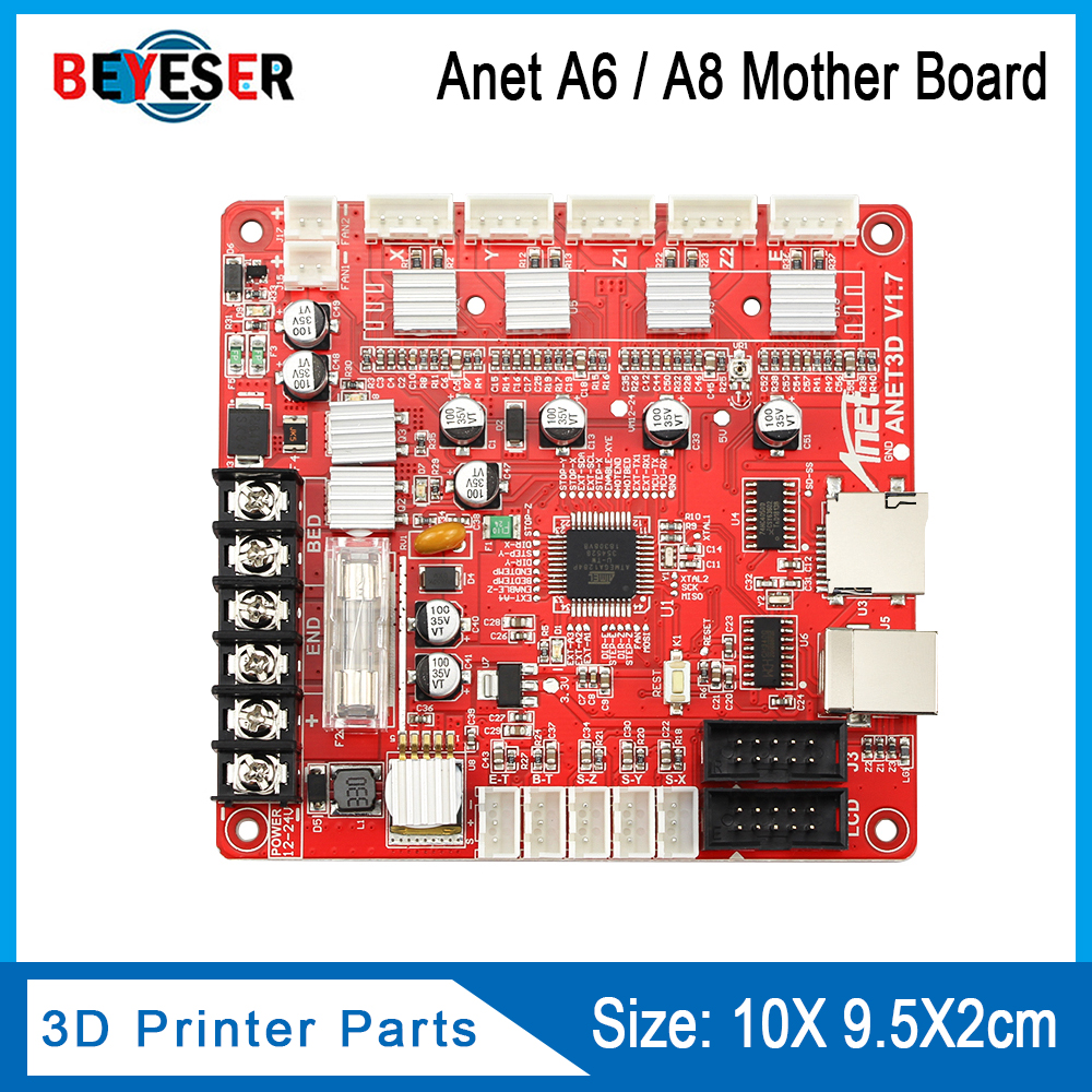 1PC Anet V1.7 3D Printer Control Board For Anet A8 & A6 & A3 & A2 3D Printer Reprap I3 3D Printer Mather Board 4 Colors