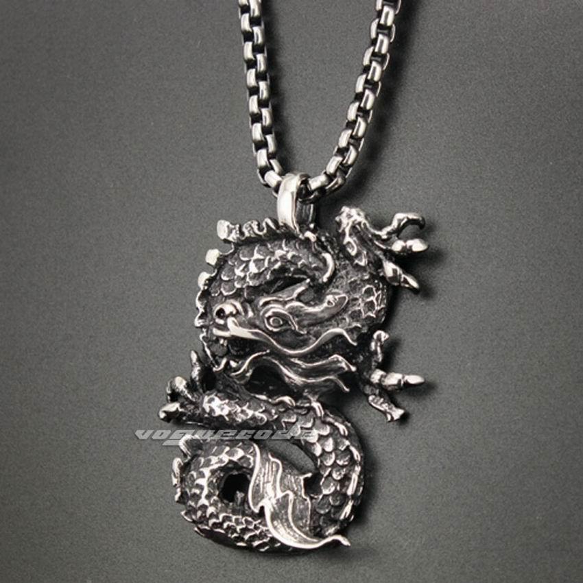 071ba5f40e 316L Acero inoxidable dragón colgante mens biker rock punk estilo 3H005  acero 24 pulgadas