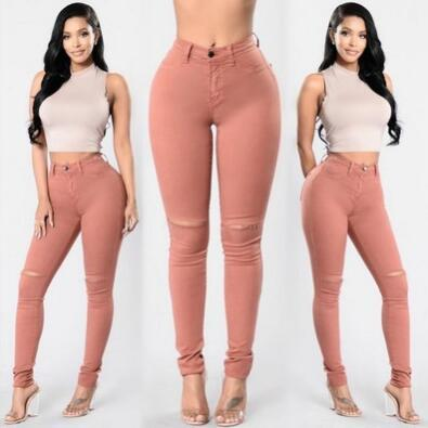 High Quality Women's Legging Mid Waist Spring/Autumn Solid Pink Color Fitness Leggings Workout Pants