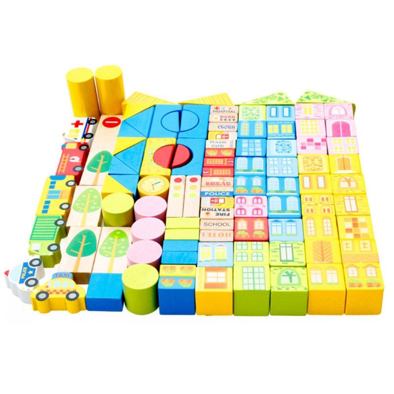 100pcs/set Safety Wooden Montessori Kids Toy Color Cartoon Images City Traffic Scene Wood Building Blocks Child Educational Toys baby toys montessori wooden geometric sorting board blocks kids educational toys building blocks child gift