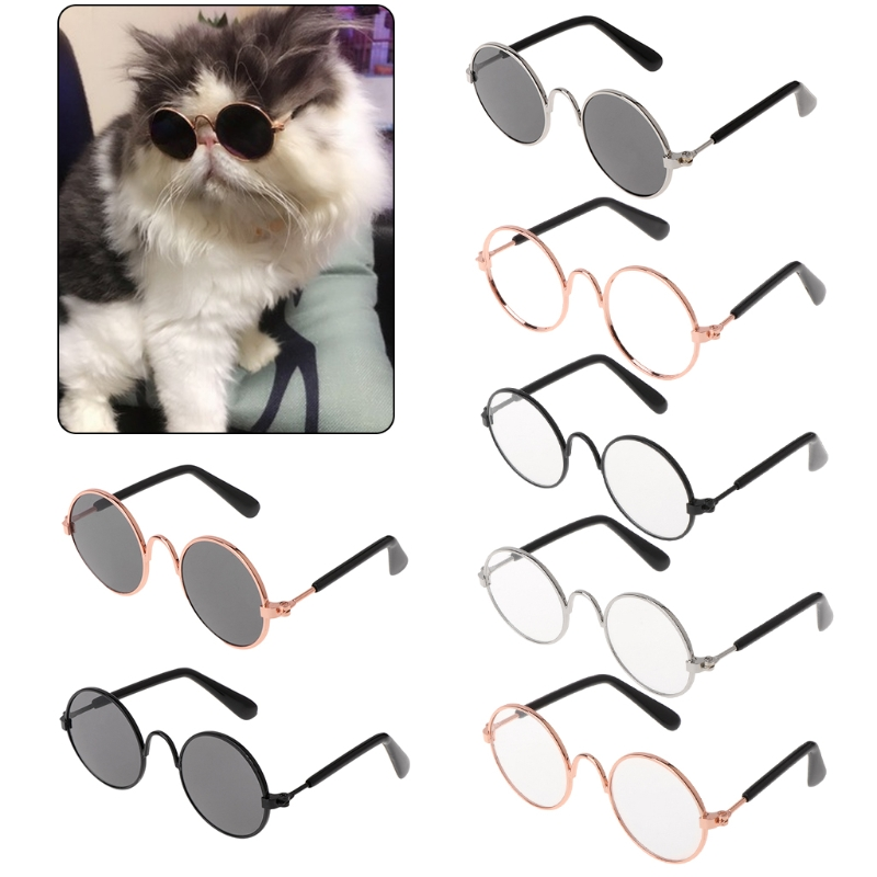 Metal Frame Resin Lens Pet Glasses Costume Sunglasses Round Funny Fashion Props Dog Cat Supply Products