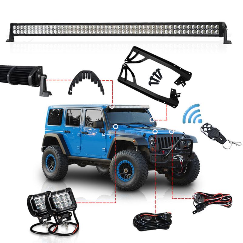 52 Inch 300W LED Light Bar Kit 4 LED Work Light Windshield Mount Bracket with Wireless Control For JEEP Wrangler JK 07 15