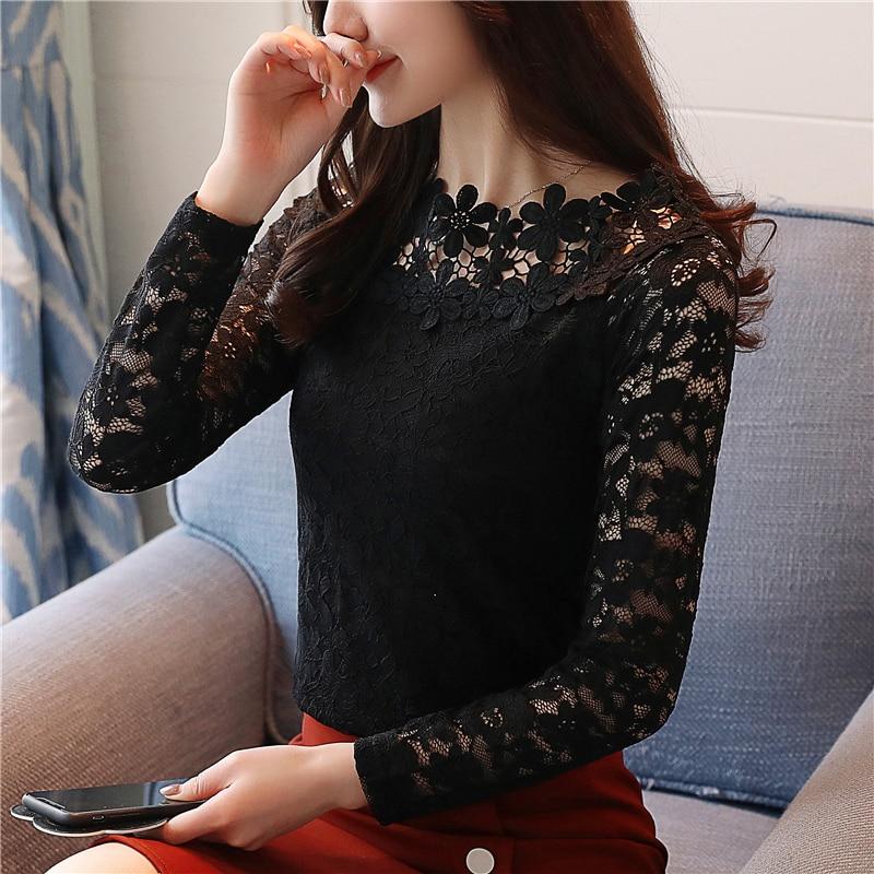 2018 Новое поступление женская Осенняя блузка с круглым вырезом, с длинными рукавами, кружевная блузка, с вырезами, верхняя женская одежда, приталенная блуза 1105 40