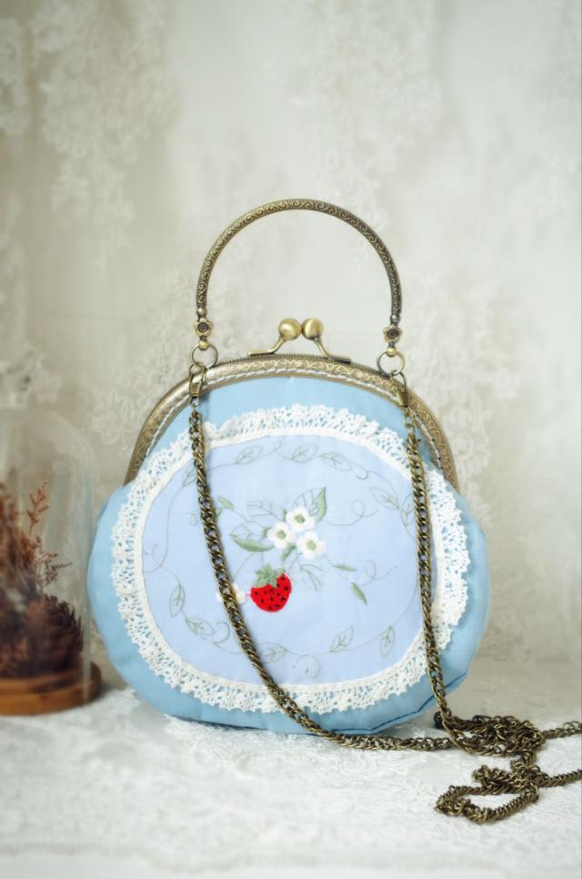 Angelatracy Sweet Strawberry Handbag Fruit Clasp Bags Blue Women Bag Lace Double Side Embroidery Clutch Mini Wallet Phone Bag in Top Handle Bags from Luggage Bags