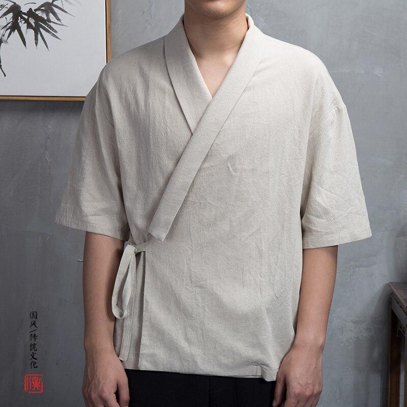 Kimono Homme Cour Blanc Han Fu Lin Han Vêtements Chinois 2019 D'été Manches Courtes Chine Robe Chinois Kimono Japonais Vêtements