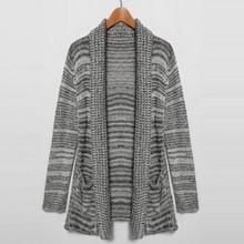 Women's Lapel Long Sleeve Open Front Pocket Cardigan Sweater Fashion