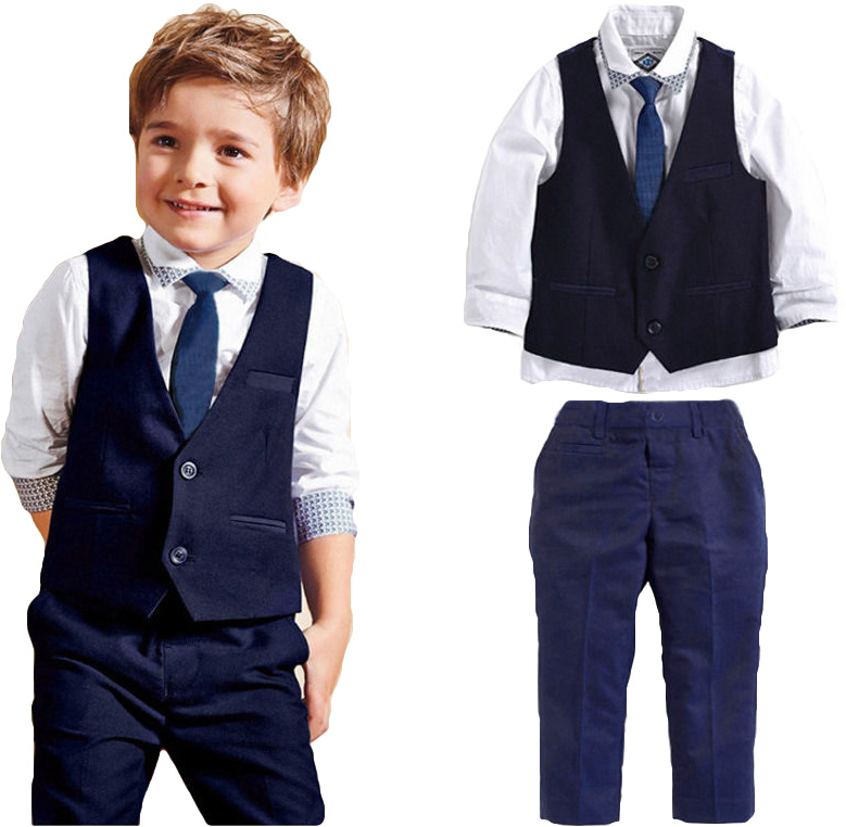 4Pcs/set Gentleman Kids Baby Boys Clothes Long Sleeve Shirts+Waistcoat+Tie+Pants Fashion Formal Party Baby Boys Sets