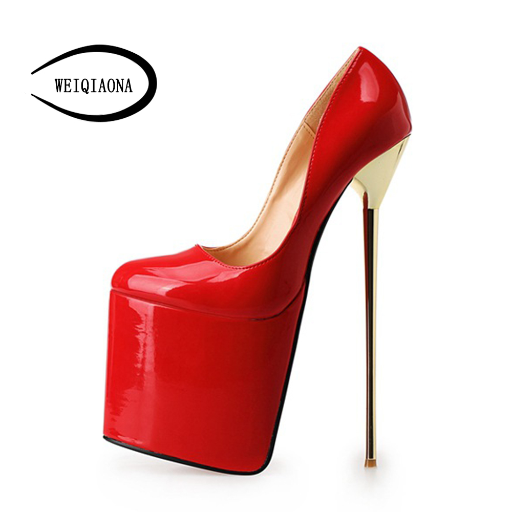 WEIQIAONA Big size 40-50 New Fashion Womens Sexy classic 22cm High-Heeled pumps Ladies platform Party model Stage shoes ...