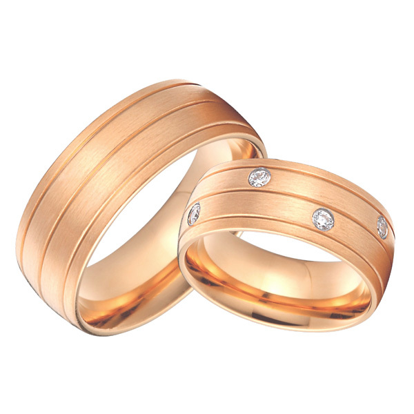 rose gold color health 8mm custom bridal pair alliance wedding bands rings sets titanium jewelry все цены