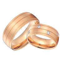 rose gold color health 8mm custom bridal pair alliance wedding bands rings sets titanium jewelry