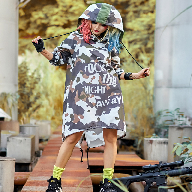 Trench Coat for Women Loose Hooded Long Coat Woman Printed Green Camouflage Irregular Rock The Night Away Hip Hop Dance Coat