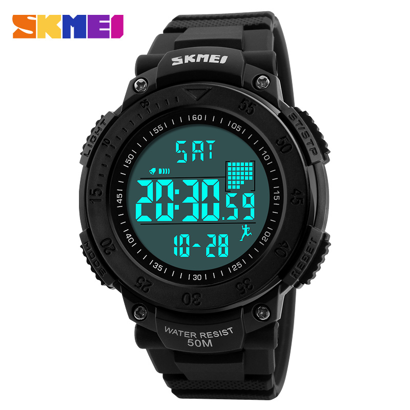 где купить SKMEI Sports Watches Men Pedometer Timekeeping Outdoor Watch Fashion Waterproof Alarm Digital Wristwatches Relogio Masculino дешево
