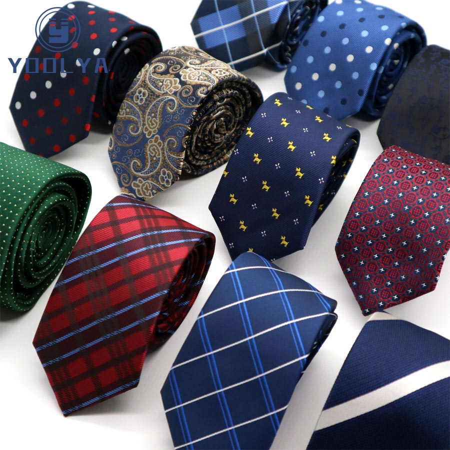NEW 6CM Man Skinny Ties Polester Silk Narrow Neck Tie Stripes Dots Paisley Men Wedding Party Gravatas Red Black Yellow Slim Ties
