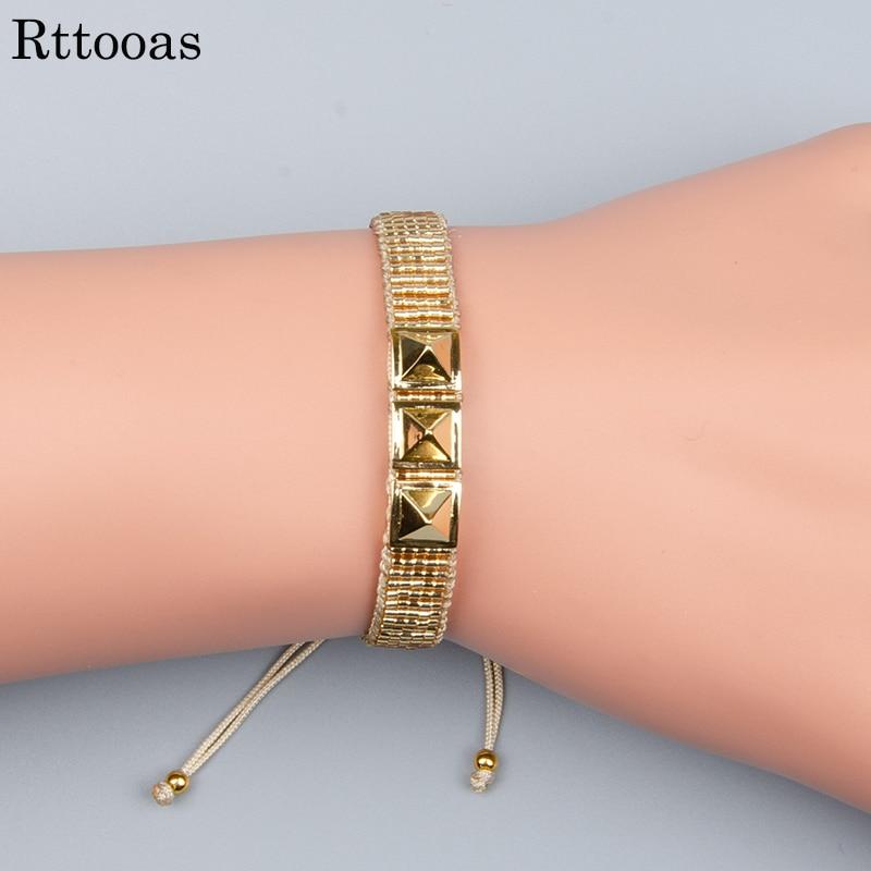 Rttooas pulseira de punho diy pulseira miyuki rebite de ouro bileklik pulseiras de jóias femininas artesanal tecido contas delica