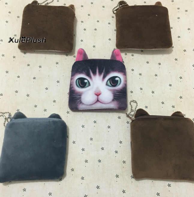 1X Aleatório Rosto 3D Cat 10 CM Plush chaveiro SACO de Brinquedos de Pelúcia, Gatinho de pelúcia BONECA de BRINQUEDO