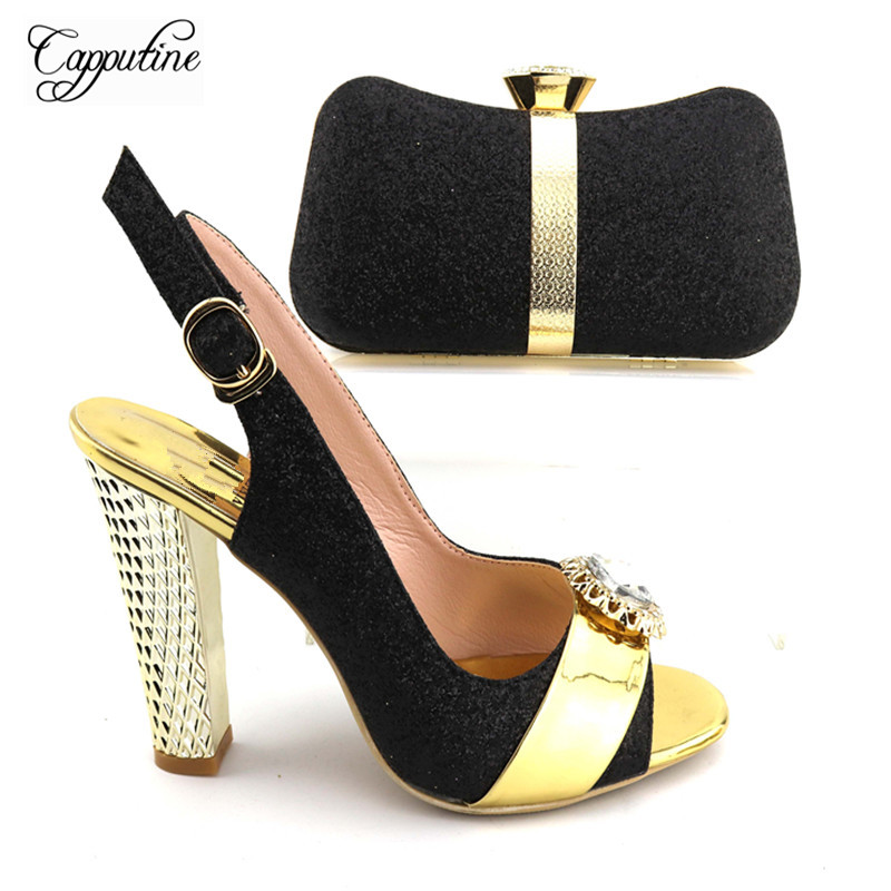 Capputine 2017 African Style Elegant Shoes And Matching Bags Italian High Heels Black Shoes And Bag Set For Wedding Party african fashion shoes with matching bag set for wedding party italian design nigeria women pumps shoes and bags mm1060