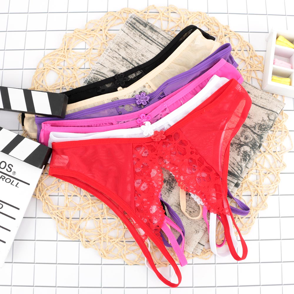 Women Sexy Floral Lingerie hot erotic Transparent panties open crotch lace underwear crothless underpants g-string