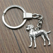 Antique Silver 29x29mm Puppy Dog Keychain New Vintage Handmade Metal Key Ring Party Gift