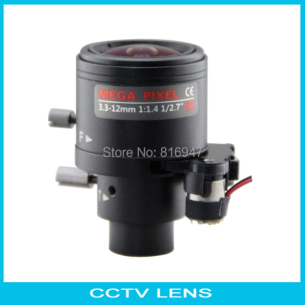 3.3-12mm Fixed iris with IR-CUT cctv lens, 1/3 f1.4 m14 mount, 2 mega pixe cctv lens, manual focuns / zoom. free shipping