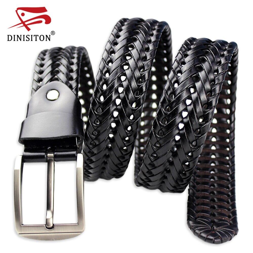 DINISITON trenzado cinturón de cuero para hombres cinturones 4,0 cm ancho lujo vaca cuero genuino correas mano diseñador de punto Correa BZ201