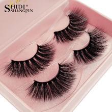 SHIDISHANGPIN 1 box mink eyelashes hand made 3d mink lashes 2 pairs false eyelashes natural long eyelash extension make up 80-84 недорого