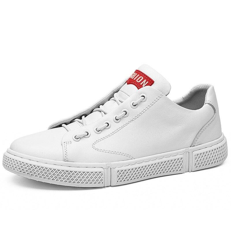 Hommes décontracté chaussures de skateboard en cuir véritable baskets chaussures plates de haute qualité chaussures légères confortables noir et blanc