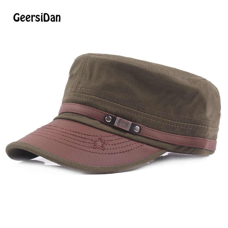 GEERSIDAN 2017 Spring autumn top quality cutton men's baseball hats with ear flaps russia flat top caps for men women casquette