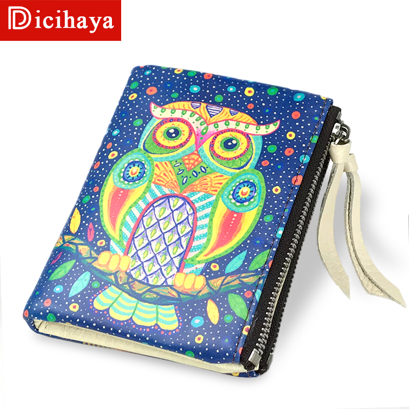 DICIHAYA Leather Womens Wallets And Purses Double Zipper Wallet Women Animal Print Cute Owl Female Purse Short Wallet 702-1 dicihaya fashion short women wallet female leather womens wallets double zipper design with coin purse pockets mini wallet 702 9