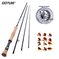 Goture High Quality Fly Fishing Rod Combo Lightweight Carbon Fiber Fishing Rod ,Reel And Flies Kit Autumn Trout Fishing Set