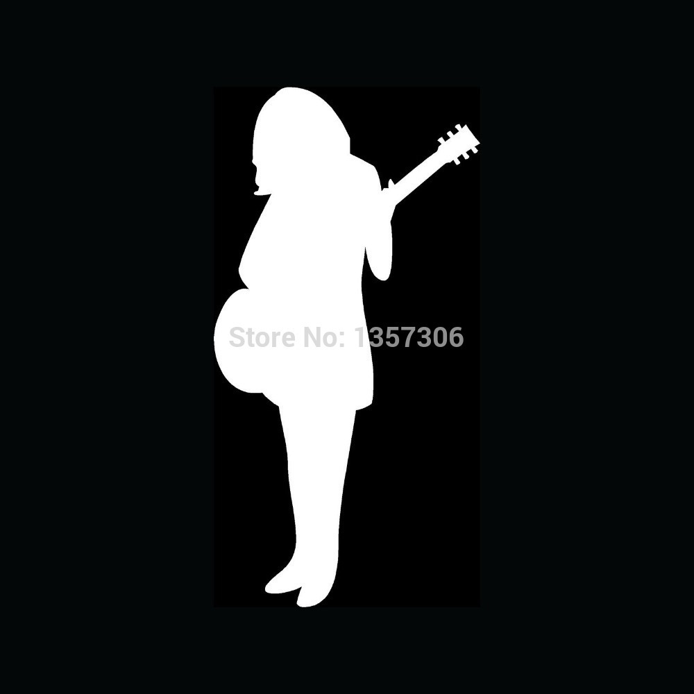 Wholesale 50 pcs lot Sexy Girl Guitar Player Sticker Car Window Truck Bumper Auto SUV Door