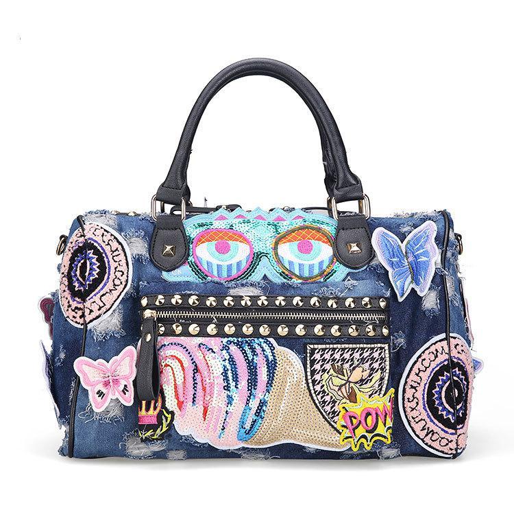 Butterfly Embroidery Fashion Denim Women Bag Lady Luxury Handbags Jeans  Tote Bag Rivet Women s Shoulder Bags 1c3da72bd7b5e