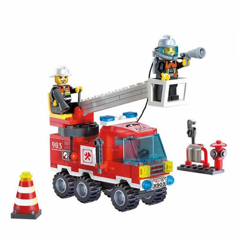 Lowest Price!! 130pcs/set Fire Climbing Ladder Truck DIY Model Building Blocks Kit Toy Educational Assemble Bricks Gift