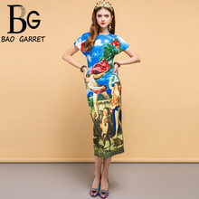 Baogarret Runway Summer Dress Womens Angel Floral Print Sequined Beading Casual Holiday Party Midi Slim Elegant 2019