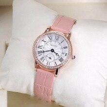 De cuarzo de Relojes de Alta Calidad Relojes de Las Mujeres del Cuero Genuino Patrón de Pulsera Con Calendario del Diamante gafas de Sol de Moda