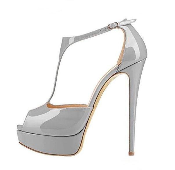 T Bar plate-forme pompes Peep Toe découpé Super haute sandales en cuir verni imperméable à l'eau piste robe de soirée chaussures 2019 chaussures d'été