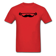 цена Minimal Funny T-shirt Men Red Tshirt Fitness Mustache Print Tops Workout Beard Tees Hot Sale Young T Shirts Cotton Clothing онлайн в 2017 году