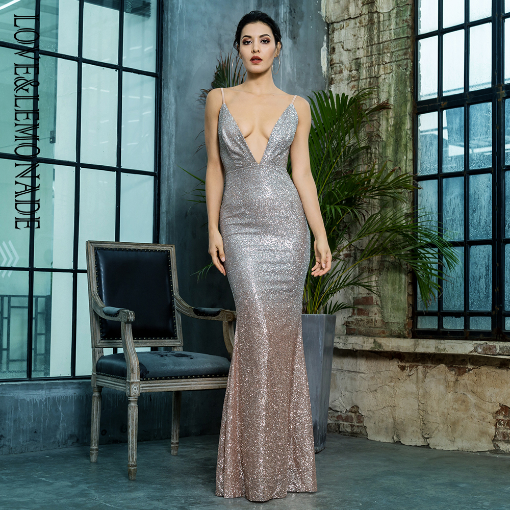 Love Lemonade Silver Gold Card Shoulder Deep V Neck Party Dress LM80386