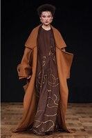 X long Плюс размер шерстяное пальто утолщенное теплое пальто с отложным воротником карманный дизайн Кардиган Зимнее пальто женская верхняя о