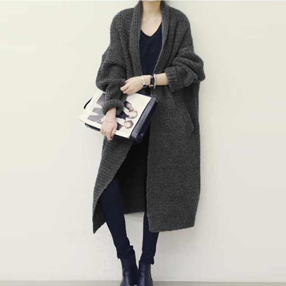 Vintacy Joggers женский кардиган длинный рукав вязаный свитер Плотный трикотаж корейская мода зима 2019 Горячая Повседневная трикотажная верхняя одежда женский