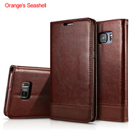 Orange S Seashell Card Holder Case For Samsung Galaxy S6 Edge Plus PU Leather Phone Wallet