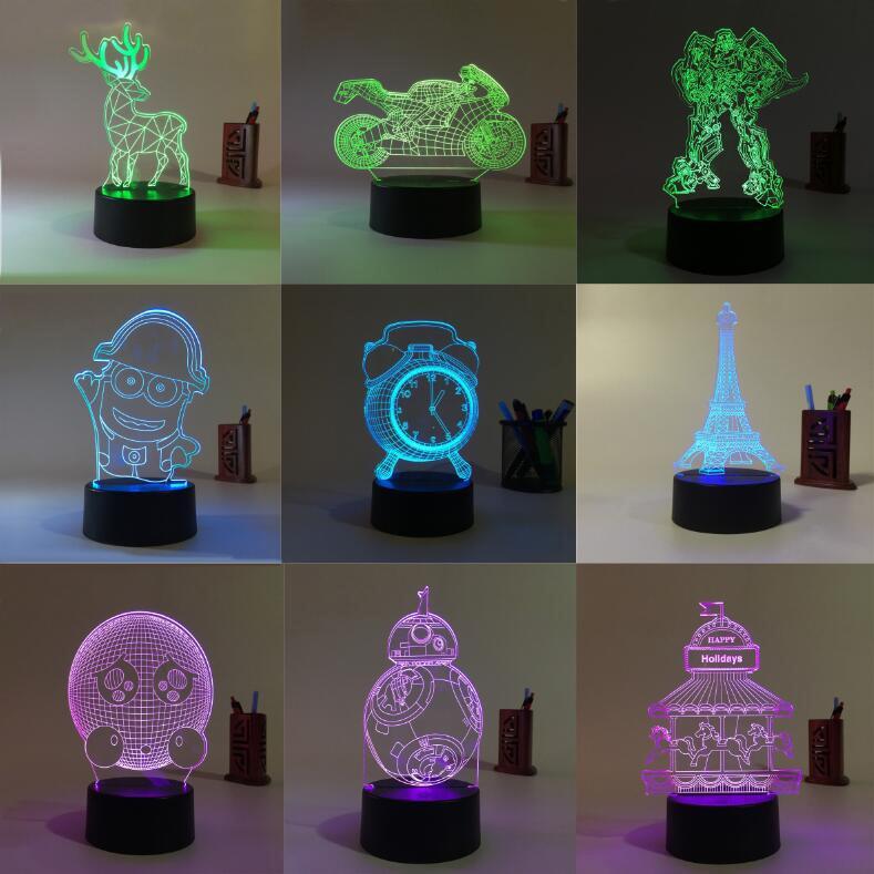 Kreativna 3d svjetiljka vodila male noćne svjetiljke lustere za - Unutarnja rasvjeta - Foto 2