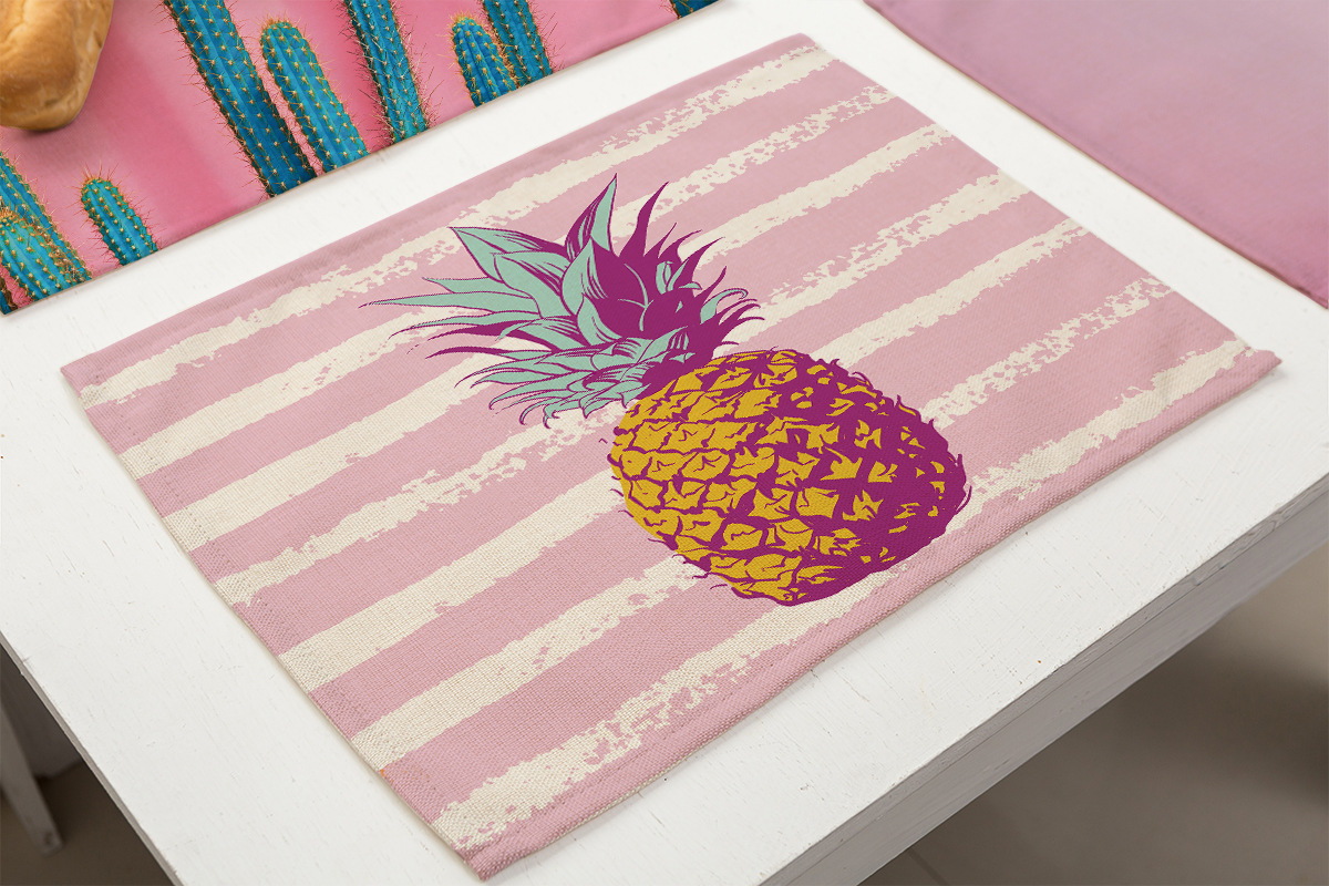Pink Pineapple Cactus Printed Drink Coasters Dinner Table Mat Flower Design Kitchen Decoration Accessories Mantel Individual in Mats Pads from Home Garden