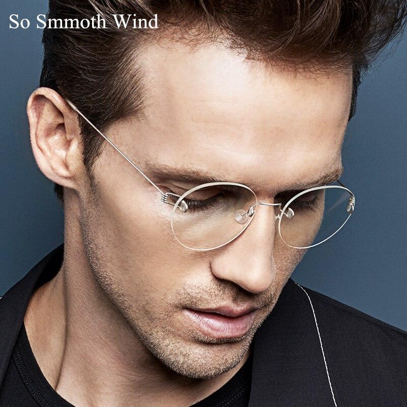 Lightweight Titanium Rimless Round Glasses For Men And Women Circle Optical Prescription Eyeglasses Frame Oculos De Grau