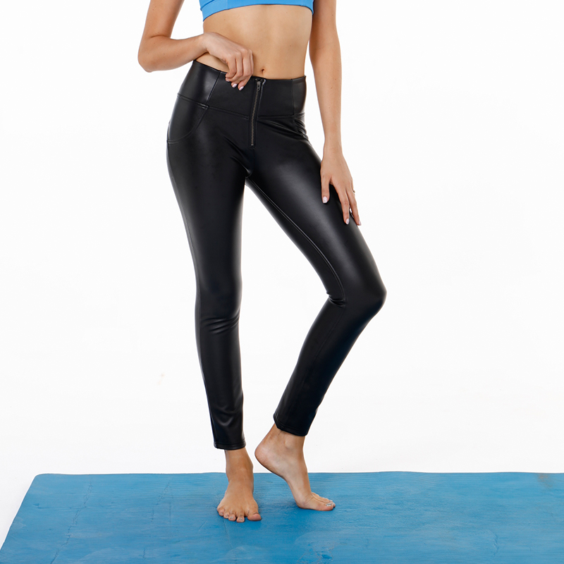 f465c46d299d4d AK's hand leather high waist long black yoga booty compression leggings  women spandex leggings black leather